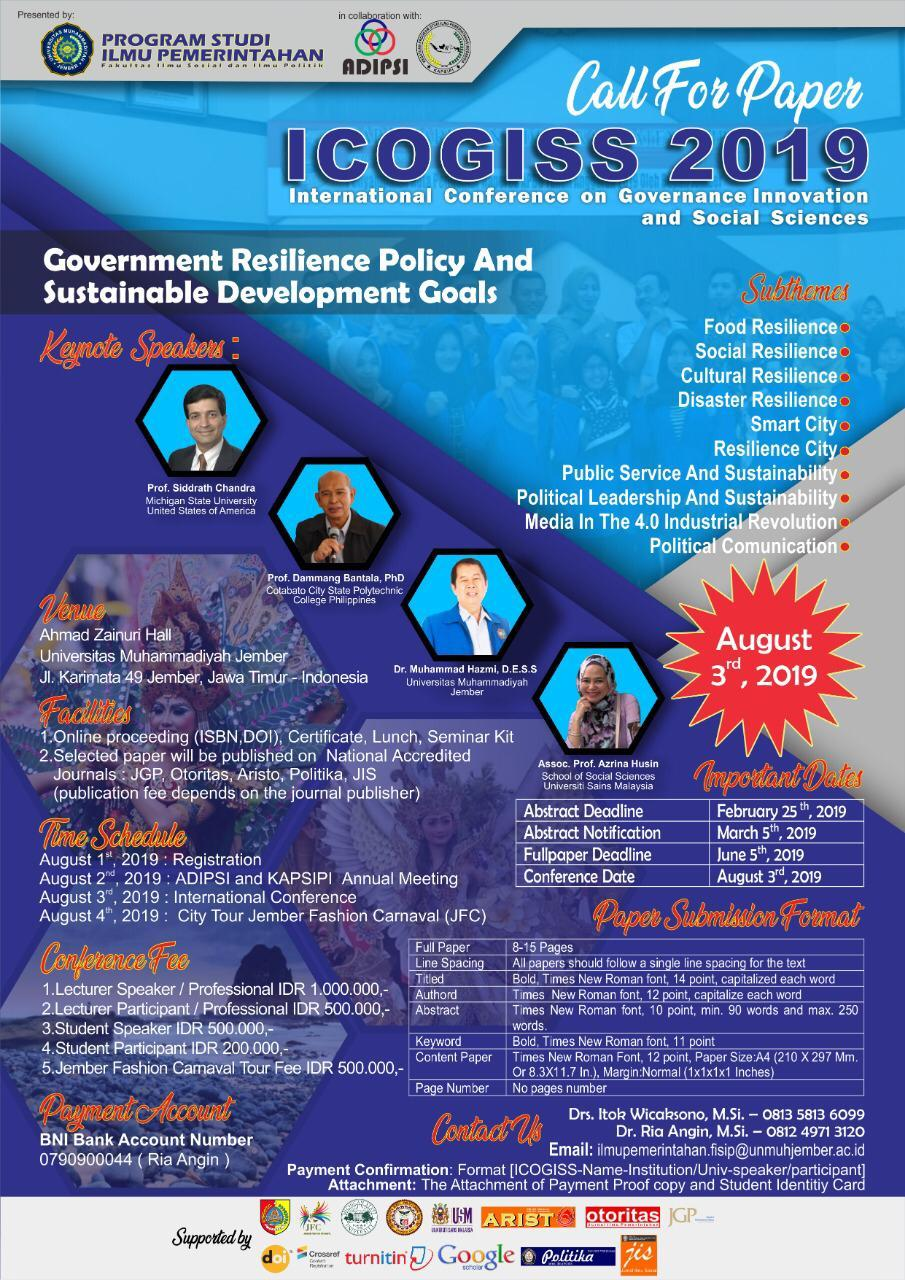 Call for Paper ICOGISS 2019